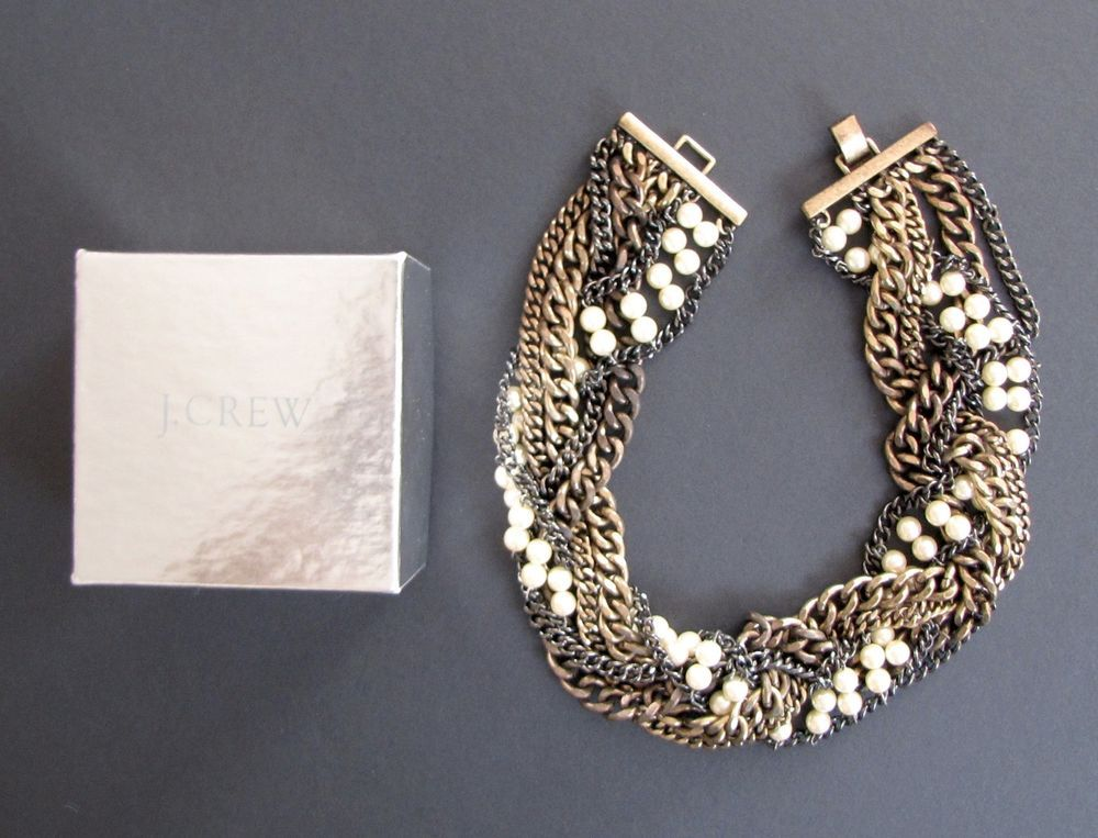 GORGEOUS J CREW BRAIDED CHAIN-AND-PEARL NECKLACE #JCrew #Cluster
