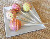Cake Pops - Pink and Yellow Cake Pops for Birthday, Spring, Pink Lemonade Party Favors (12)