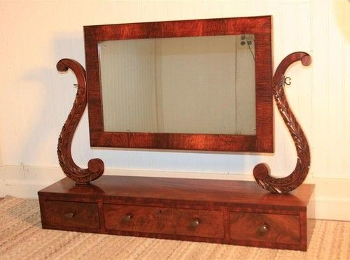 mirror on a stand vanity. LARGE Antique 1800 s Flamed Mahogany Carved Shaving Stand Vanity Mirror  Cheval