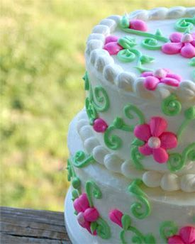 a photo of a beautiful twotiered flower birthday cake decorated
