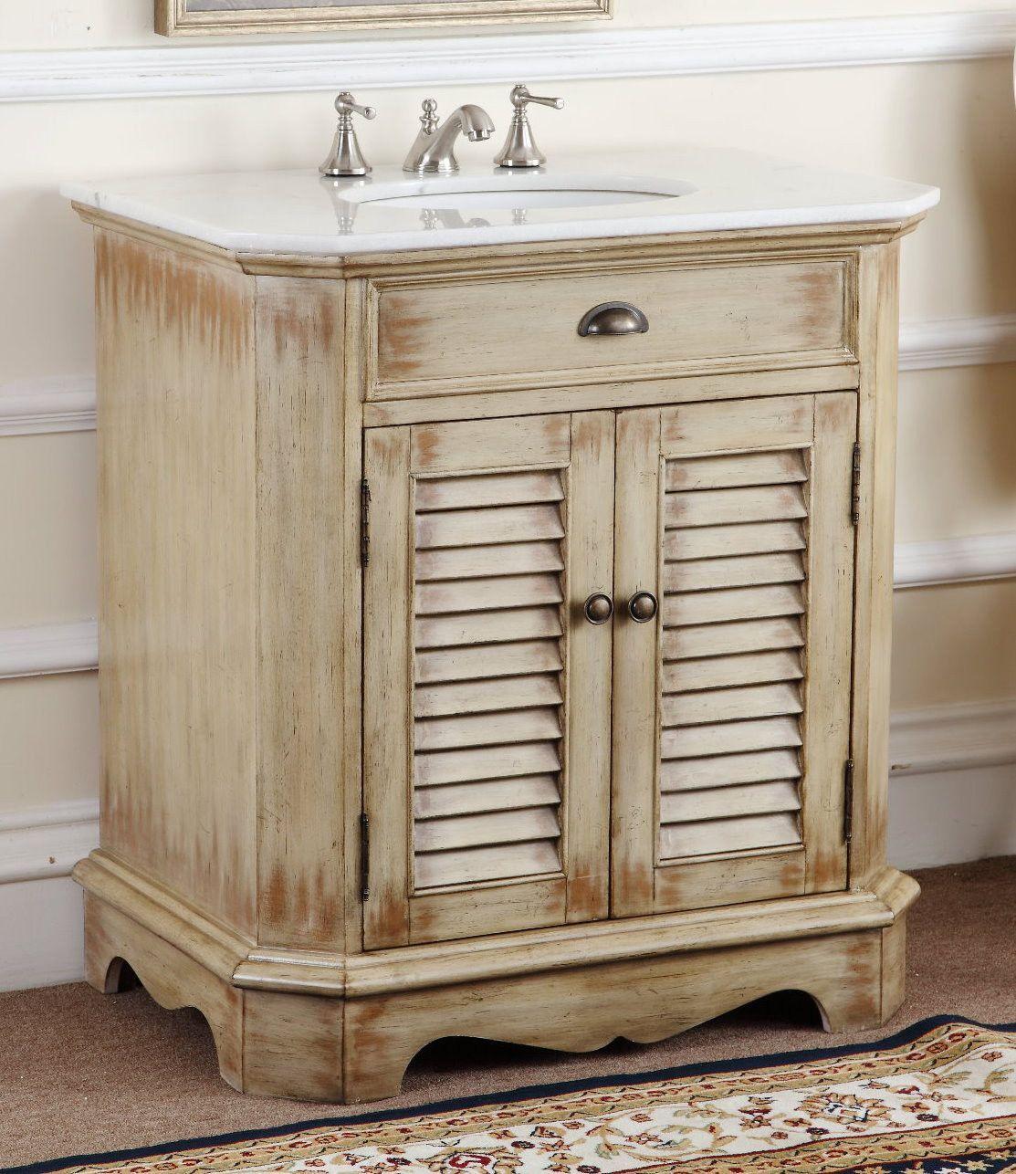 32 distress cottage look fairfield bathroom sink vanity