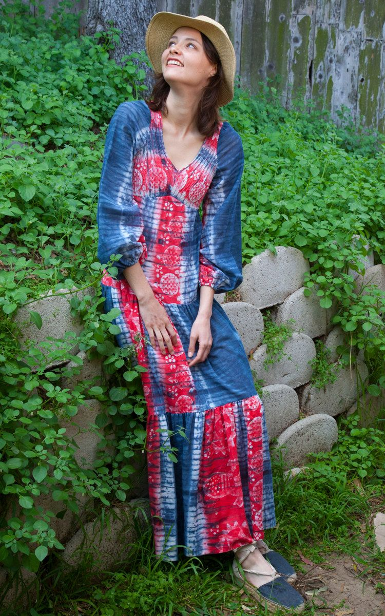 Long cotton indigo batik dress with great blue abd red perfectly faded colors. With cool Shibori designs throughout. With loose romantic sleeves ,