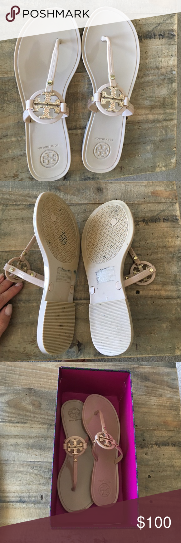 Tory Burch Mini Miller Sandal Size 7 EUC Tory Burch Sandal. Blush color with tan crystals on TH emblem. All crystals are intact and no scratches or wear on visible part of shoe. Light wear and tear on bottom as pictured! Tory Burch Shoes Sandals