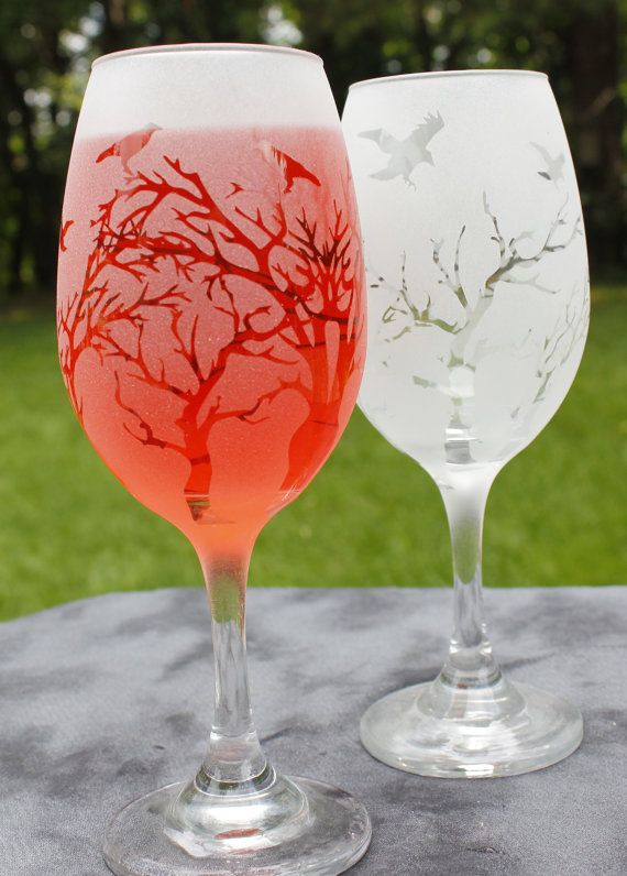 Birds in Tree Frosted White Wine Glasses Set Of 2 by DeeLuxDesigns, $18.00