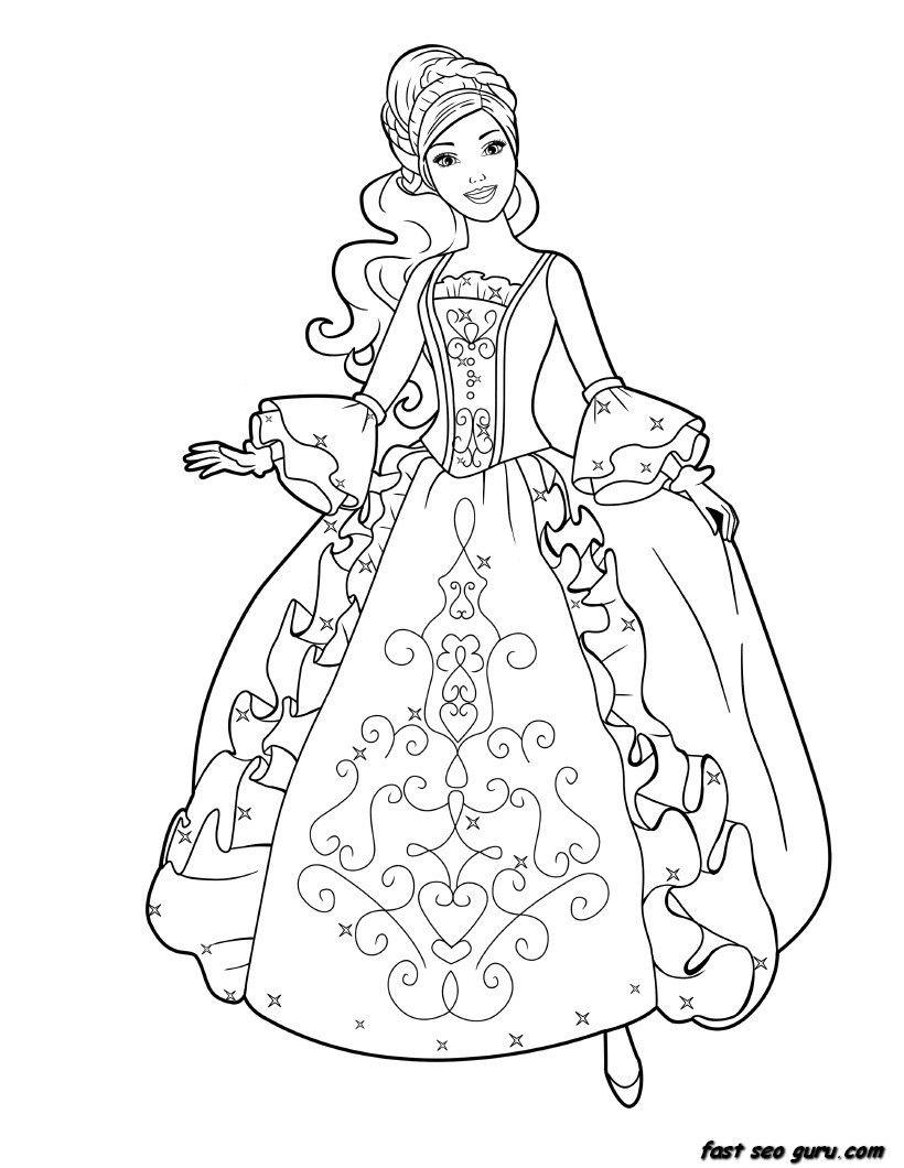 Coloring page child princess for girls printable barbie princess dress book coloring pages