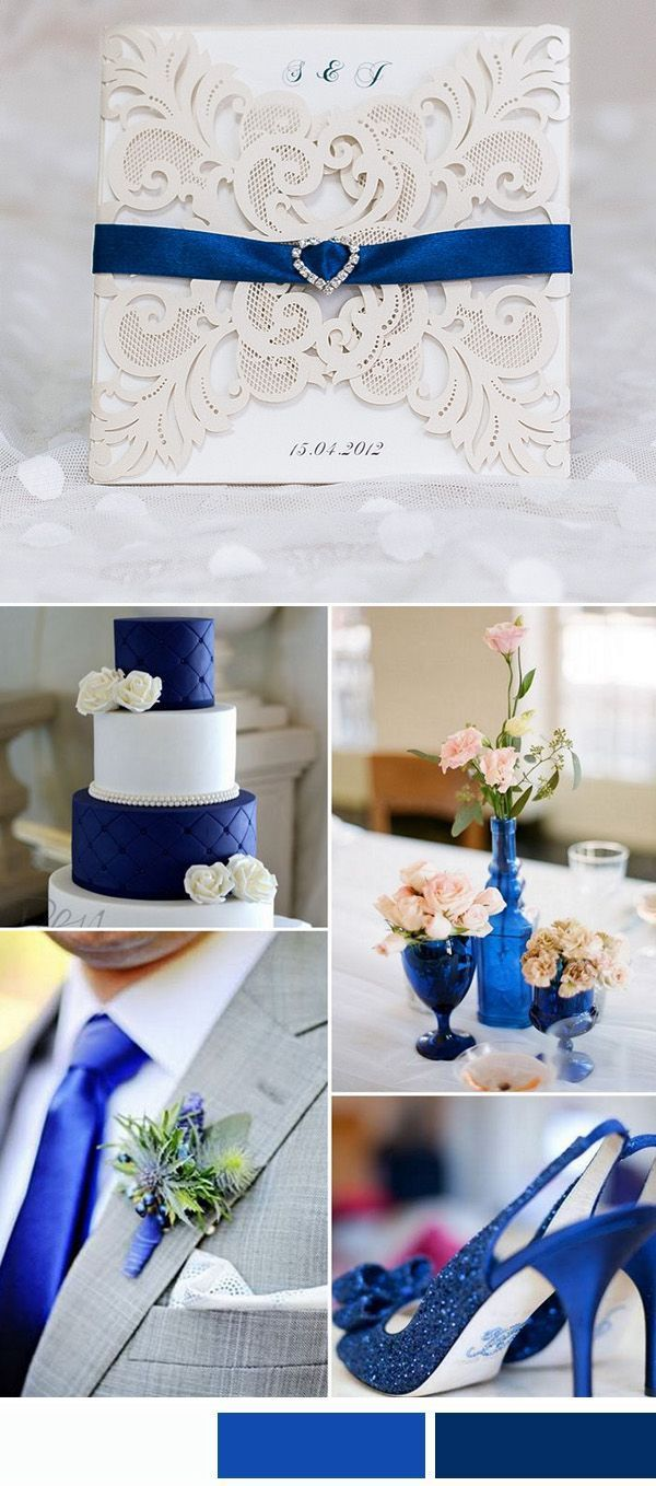 elegant laser cut wedding invitations with royal blue rhinestone ...