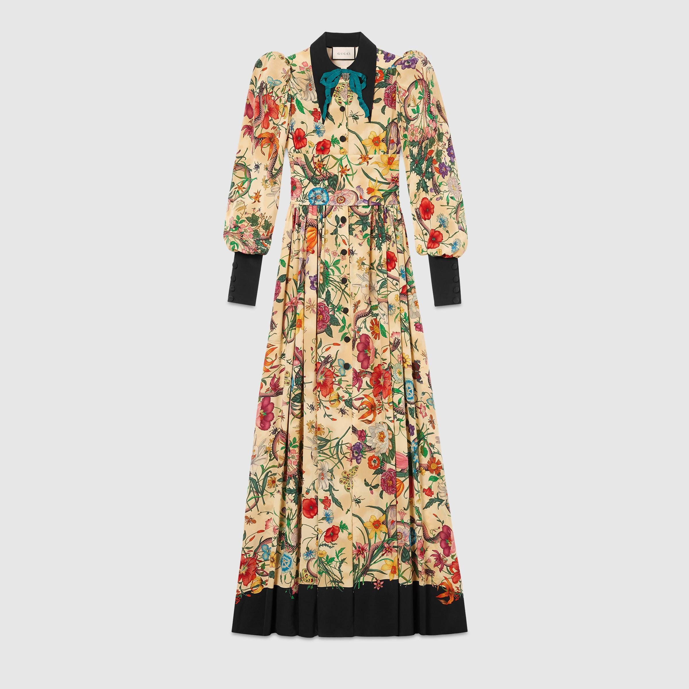 8b49feee5 Flora Snake silk long sleeve gown - Gucci Women's Dresses 488994ZJE559602