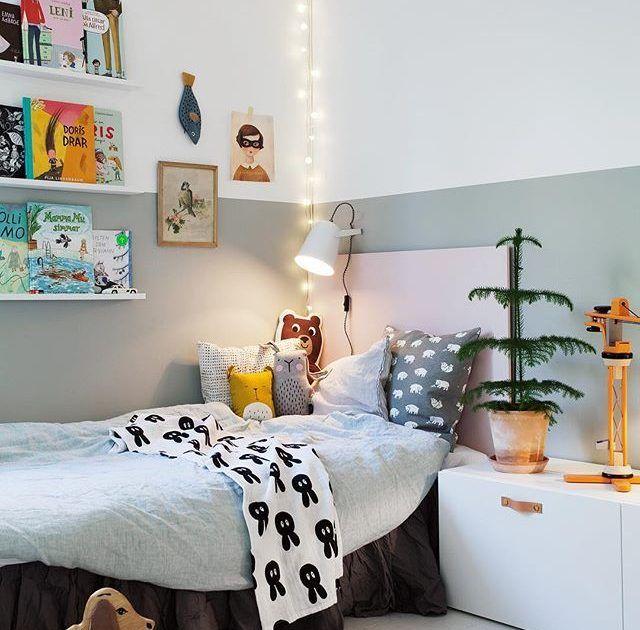 Nu är allt färdigmålat i barnens sovrum äntligen! Superfin kulör ...