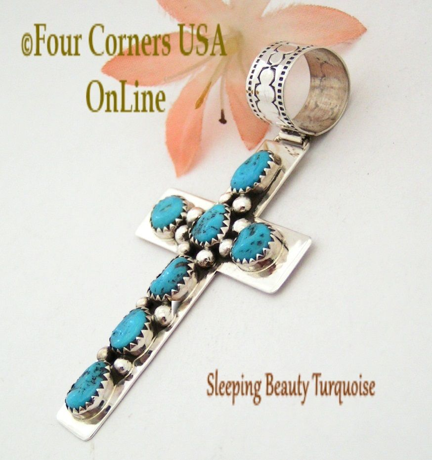 Four Corners USA Online - Sleeping Beauty Turquoise Sterling Silver Cross Navajo Artisan Tiffany Smith NACR-1407, $110.00 (http://stores.fourcornersusaonline.com/sleeping-beauty-turquoise-sterling-silver-cross-navajo-artisan-tiffany-smith-nacr-1407/)