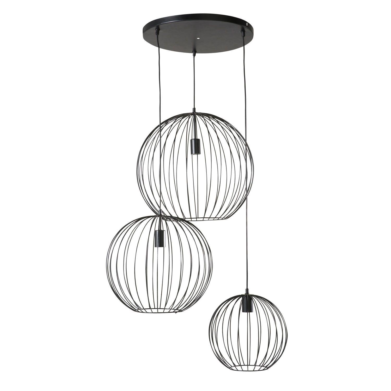 Black Wire Pendant With 3 Globes Maisons Du Monde Hanglamp Lampen Eettafel Verlichting