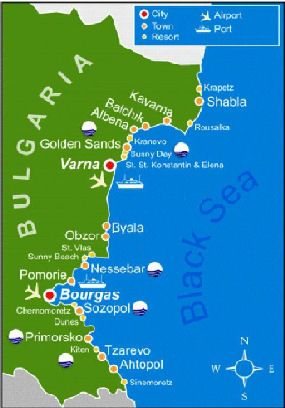 map of bulgaria black sea coast Black Sea Coast Resorts Map Bulgaria Sunny Beach Bulgaria map of bulgaria black sea coast