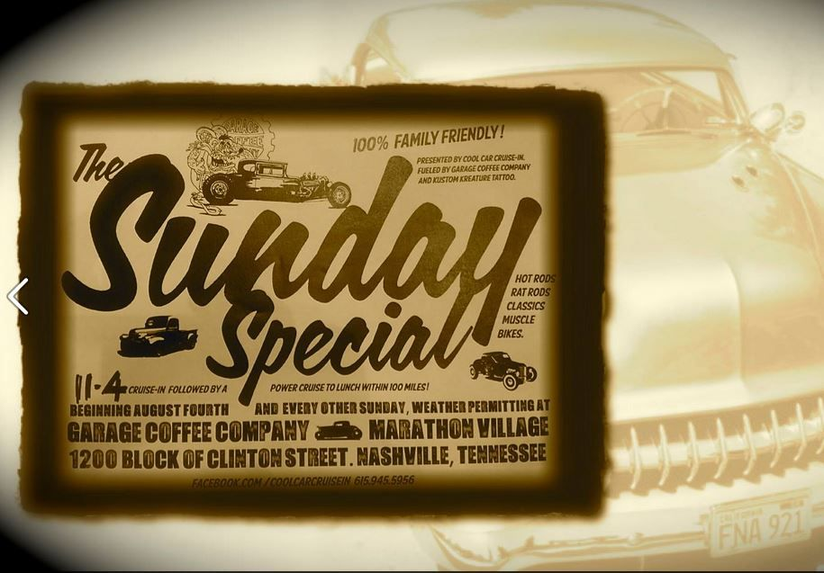 There's something about a garage that invites you in and makes you want to stay a while. Join the Cool Car Cruise this Sunday Fueled by Garage Coffee. In Nashville. It's a special blend of java and horespower. #nashville #garagecoffee
