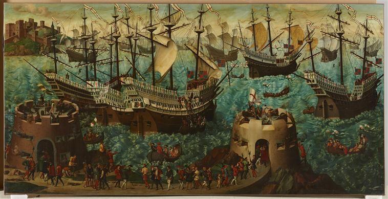 Embarquement du roi Henri VIII d'Angleterre à Douvres, pour se rendre à Calais, le 31 mai 1520 Bouterwerk Friedrich (1806-1867)