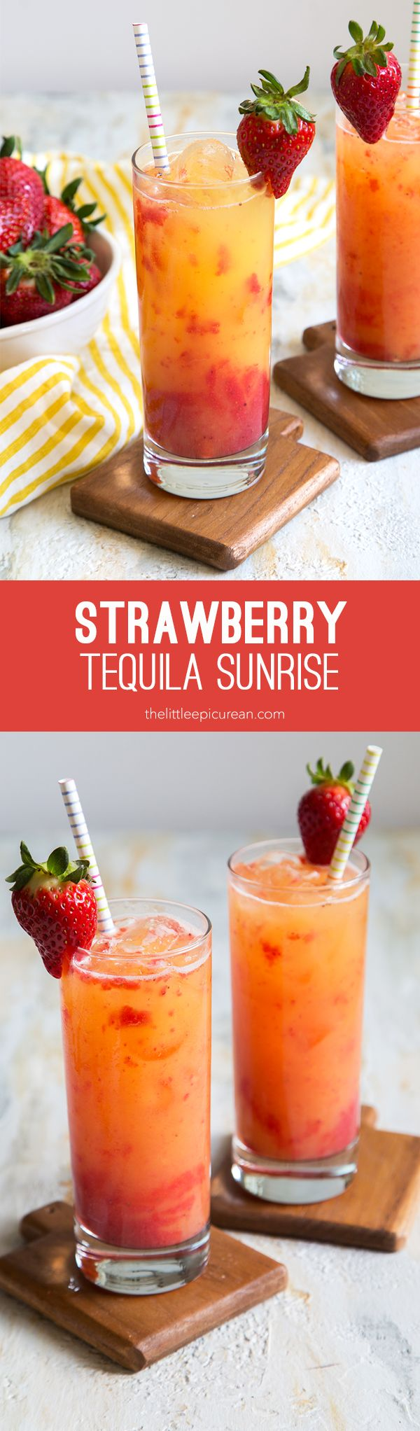 Strawberry Tequila Sunrise #tequiladrinks