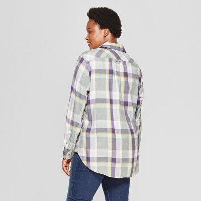 96e5c014bfb Women s Plus Size Plaid No Gap Button-Down Long Sleeve Shirt - Ava ...