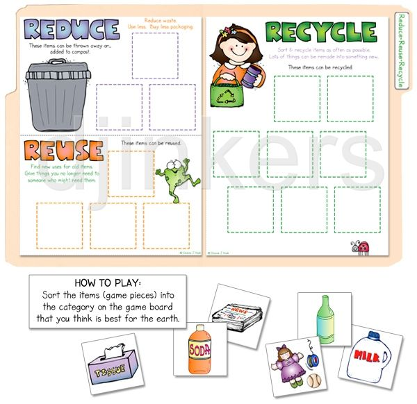 Printables Reduce Reuse Recycle Worksheets reduce reuse recycle the teach kids to with this cute little learning game perfect for earth day includes 15 item cards