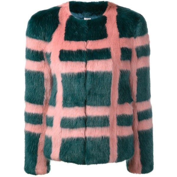 Shrimps 'Gustav' faux-fur plaid coat (61.435 RUB) ❤ liked on Polyvore featuring outerwear, coats, plaid coat, tartan coat, pattern coat, print coat and imitation fur coats