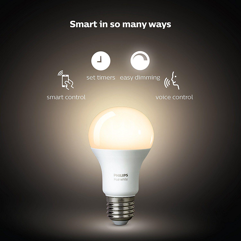 Philips Hue White A19 E27 60 W Equivalent Smart Bulb 2 Hue White Bulbs And A Bridge Compatible With Amazon Alexa App Hue Philips Smart Bulb Led Smart Bulb