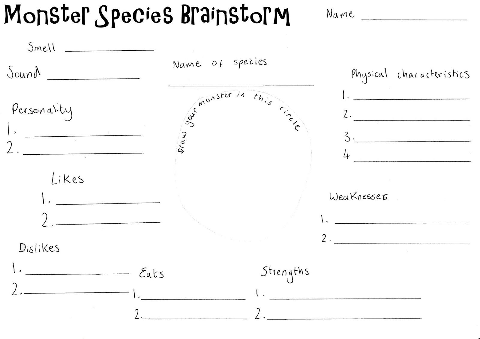 Image Result For Creating A Monster Brainstorming Worksheet Brainstorming Worksheets Crafts For Kids