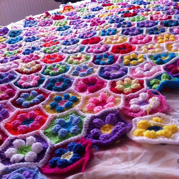 @Teresa Davidson making #wool look cool #crochet #knit #knitting #bedspread #blanket #yarn by dave_a_davidson, via Flickr