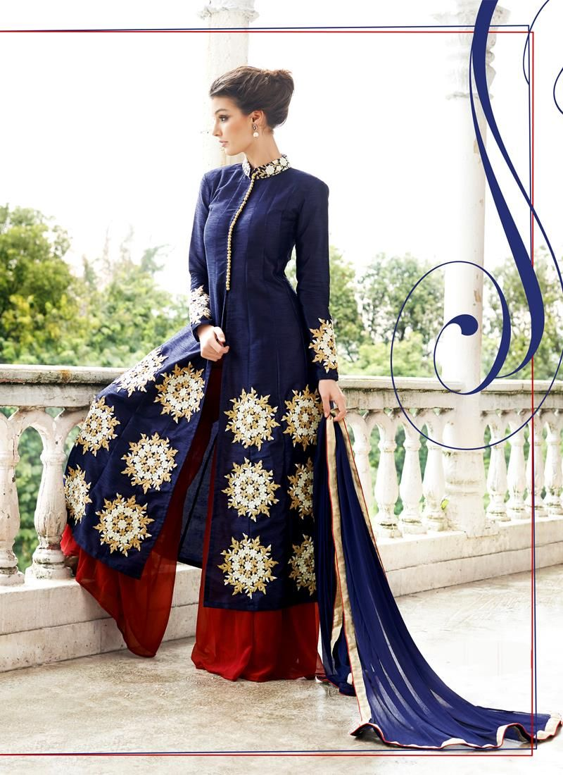 Surpassing Raw Silk Navy Blue Designer Suit