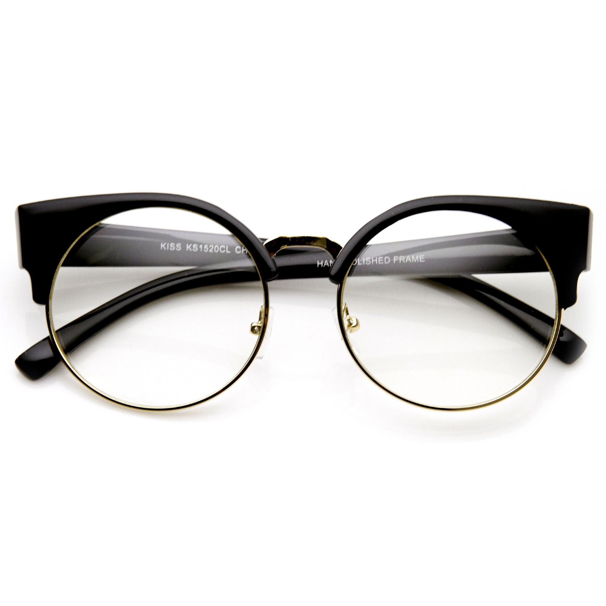 Indie Hipster Round Cat Eye Clear Lens Half Frame Glasses 9351 | Brille