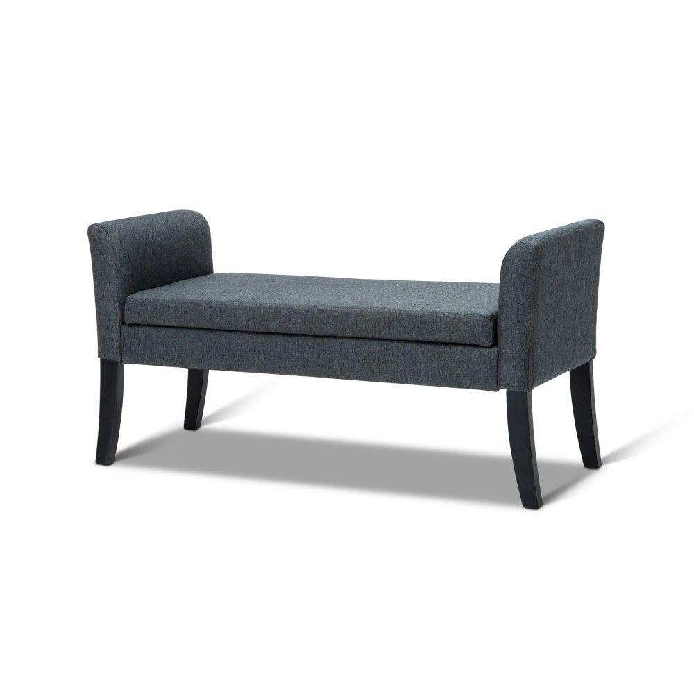 Fantastic Koli Blanket Box W Storage Armrest In Linen Fabric Ottoman Ncnpc Chair Design For Home Ncnpcorg