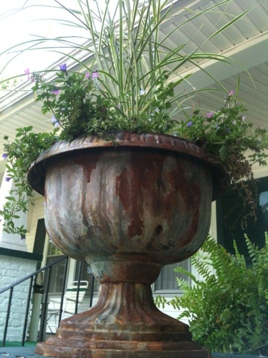 A white plastic dollar store planter was upcycled into a ~~ work of iron art using Iron Refinisher and Instant Rust. A touch of copper refinisher and green patina adds interest.