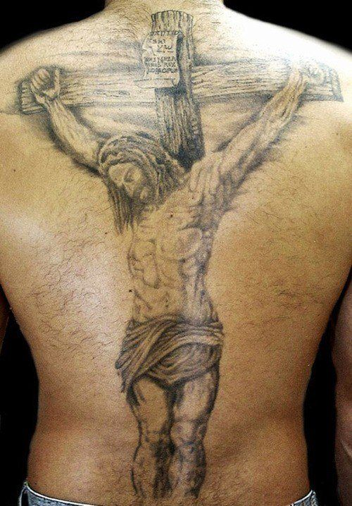 sur le dos, jésus sur la croix. | tatouage papa | tattoos, crucifix