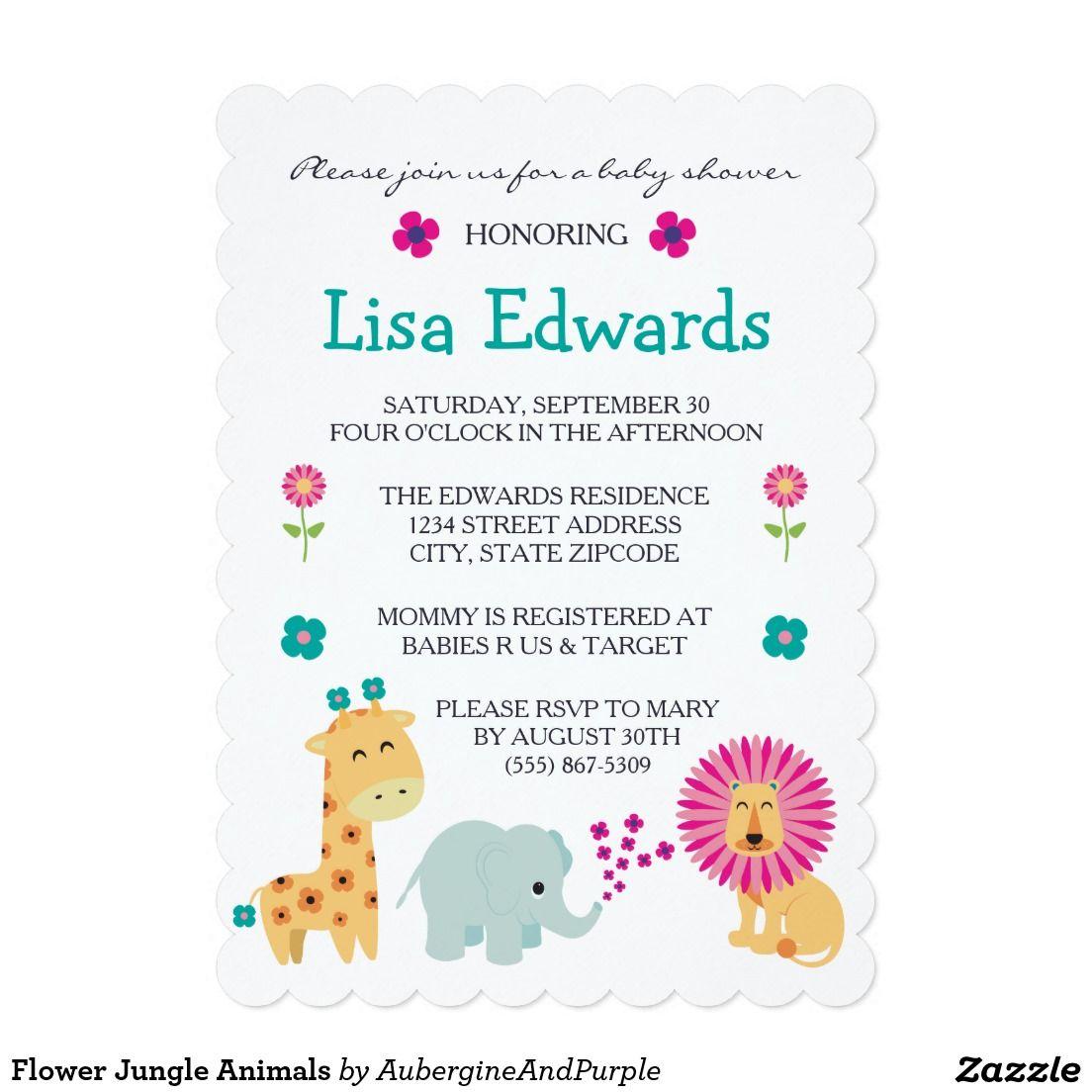 Flower Jungle Animals 5x7 Paper Invitation Card