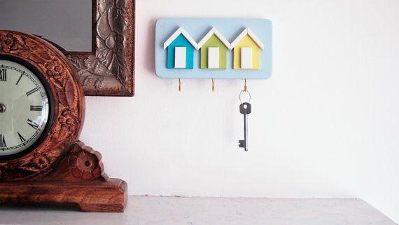 Marine. Shabby Chic Beach Hut Key Rack, Three Hooks for Keys, Handmade, This is Our 'Marine' Colour Scheme