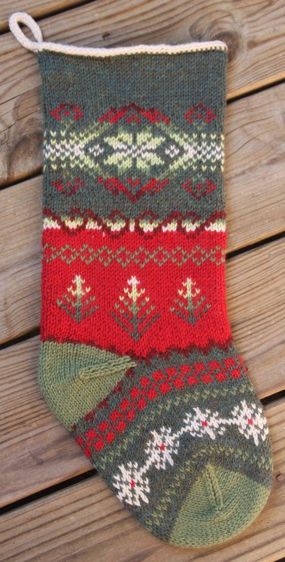 Tannenbaum Christmas Stocking Knit Pattern PDF | Knitted Christmas ...