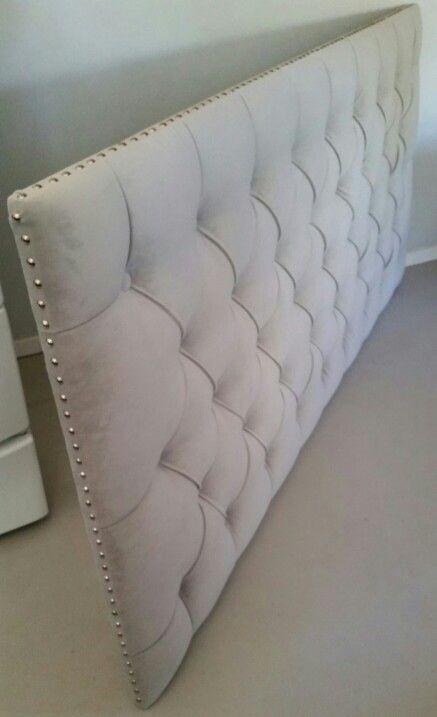 King size grey velvet tufted upholstered headboard nail head trim ...