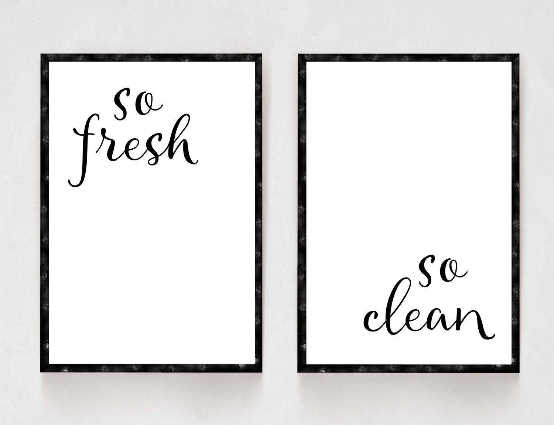 Bathroom Prints, Bathroom Set, So Fresh and So Clean, Kids Bathroom ...