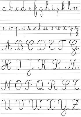 French Handwriting Script For Headings Sub Headings Etc Throughout Ecrire En Cursive Alphabet Cursif Fonts De Lettrage Manuscrit