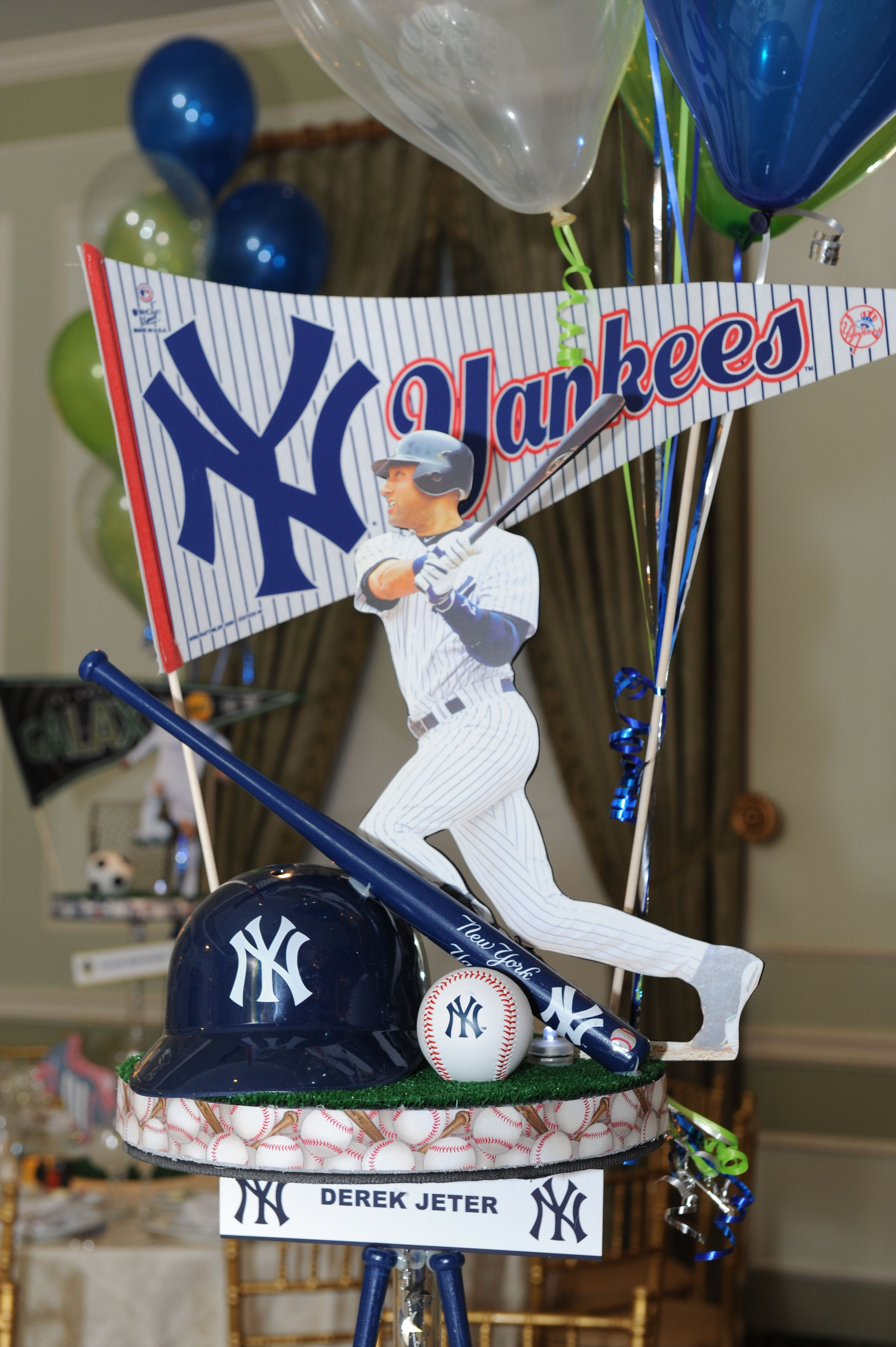 Yankees Centerpiece Centerpieces Baseball Birthday
