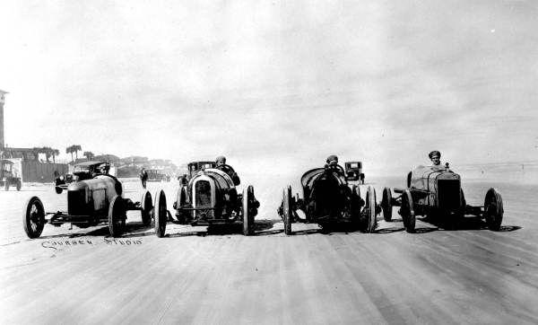 Four cars lined up and ready to go - Daytona Beach, Florida