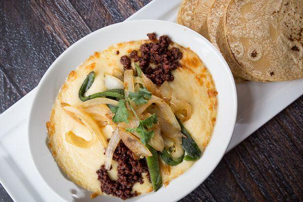 queso fundido | chihuahua cheese, rajas, chorizo, handmade tortillas