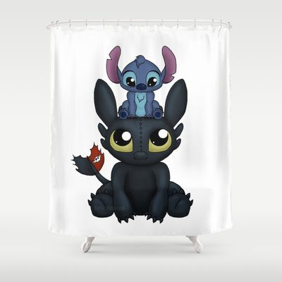 Can I Sit Here Shower Curtain By Katie Simpson 68 00 Toothless And Stitch Together In A Cute And Adorable Moment Toothless And Stitch Stitch Curtains