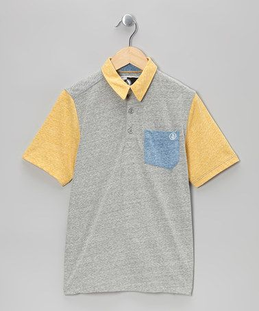 Take a look at this Yellow & Gray Tempest Pocket Polo - Boys by Volcom on #zulily today!