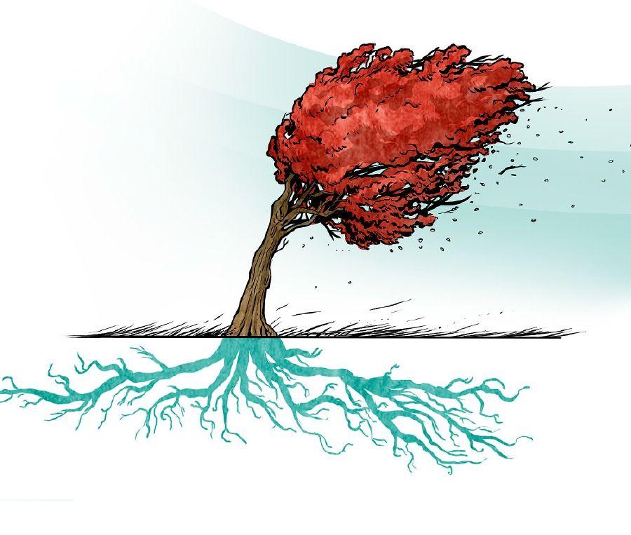 Un árbol de raíces profundas que aguanta fuertes tormentas ...