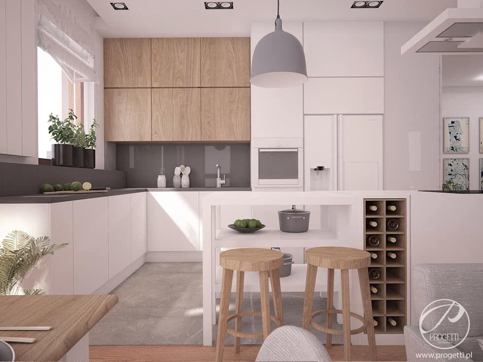 Nowoczesna Kuchnia Z Wyspa I Drewnianymi Akcentami Progetti Architektura Aneks Kuchenny Homify Interior Design Kitchen House Design Kitchen Small Kitchen Design Layout