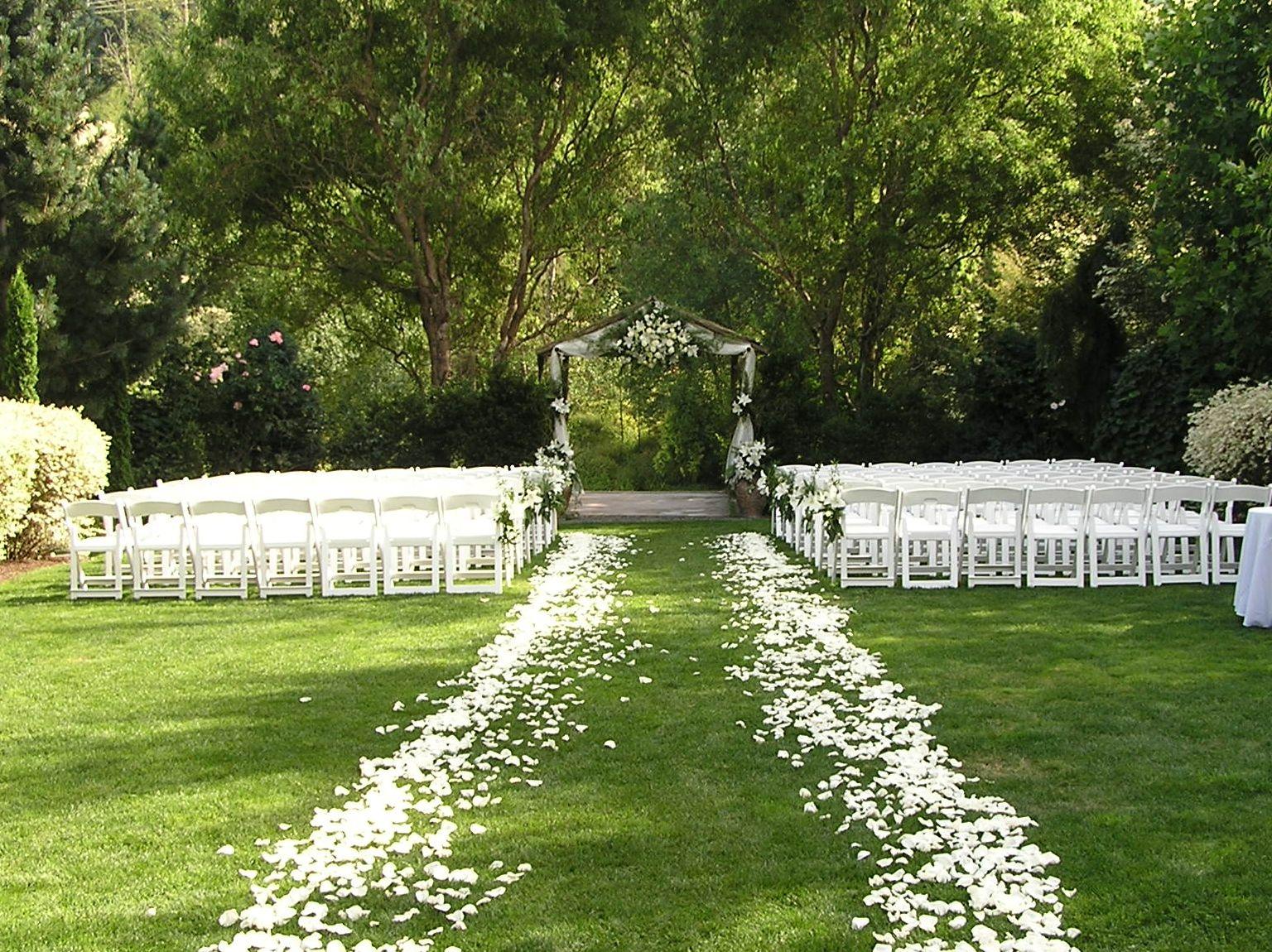 Outdoor Ceremony: Gorgeous White Rose Petal Ceremony Aisle!