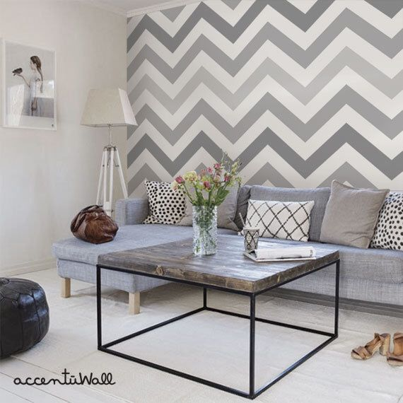 Chevron Cool Grey Peel & Stick Fabric Wallpaper Repositionable by AccentuWall on Etsy https://www.etsy.com/listing/185897982/chevron-cool-grey-peel-stick-fabric