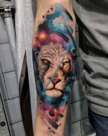 Fascinantes Y Exactos Tatuajes En Acuarela Para Hombres Leon