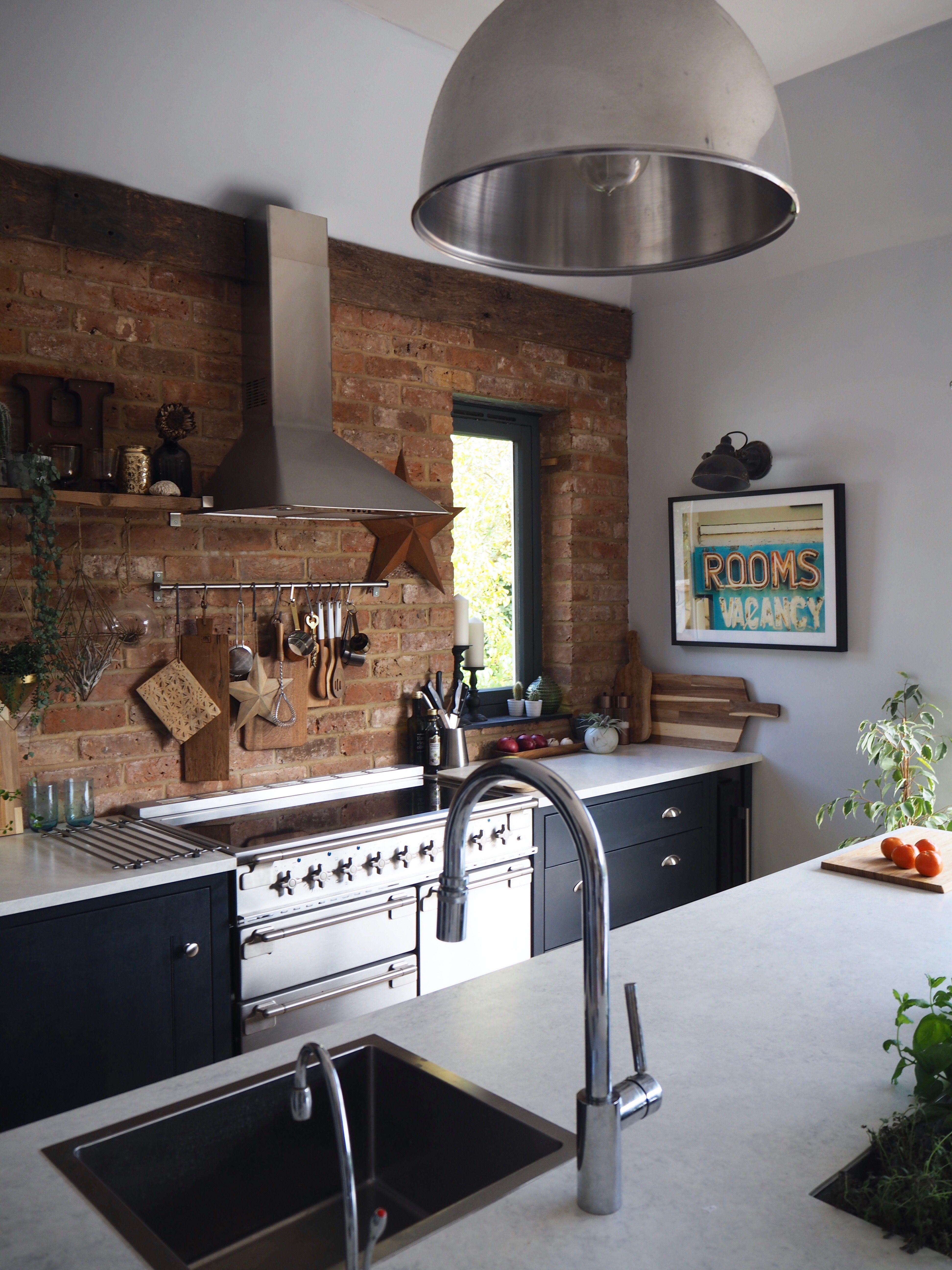 Exposed Brick Blue Modern Rustic Kitchen Rustic Modern Kitchen