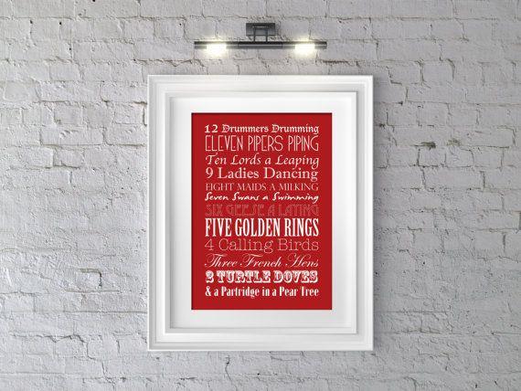 "Printable ""12 Days of Christmas"" Typography Artwork - Red"