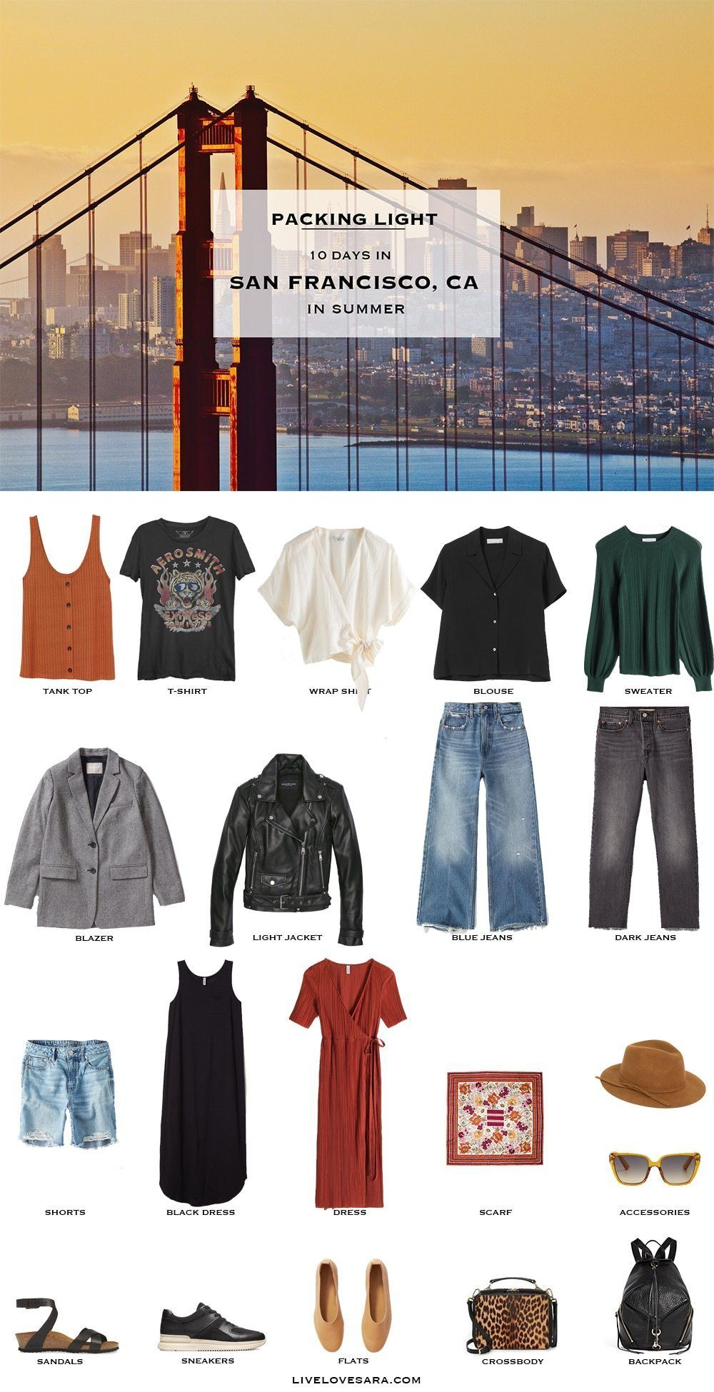 What to Pack for San Francisco in Summer - Packing Light #travelwardrobesummer