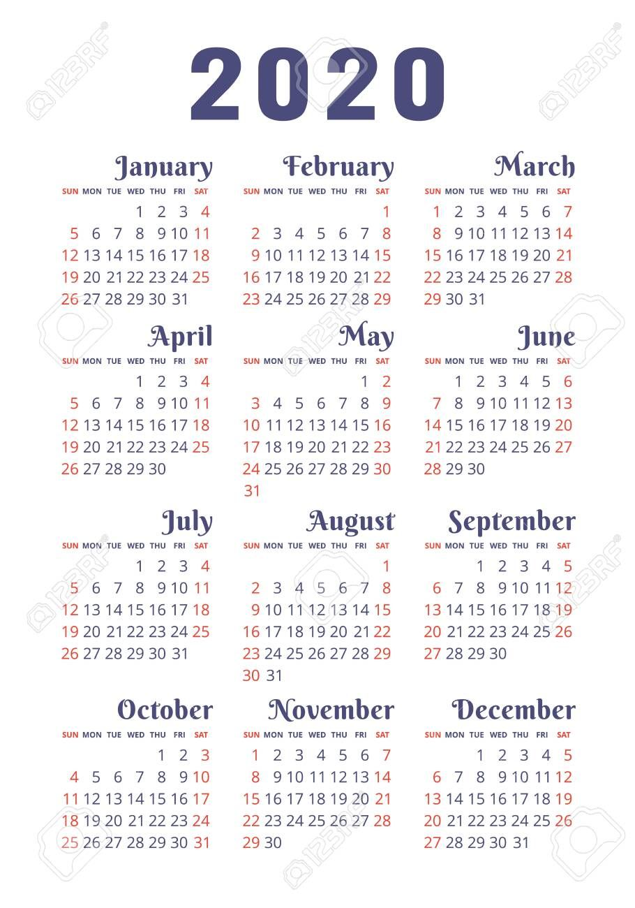 Calendar 2020 Year Vector Design Template English Vertical