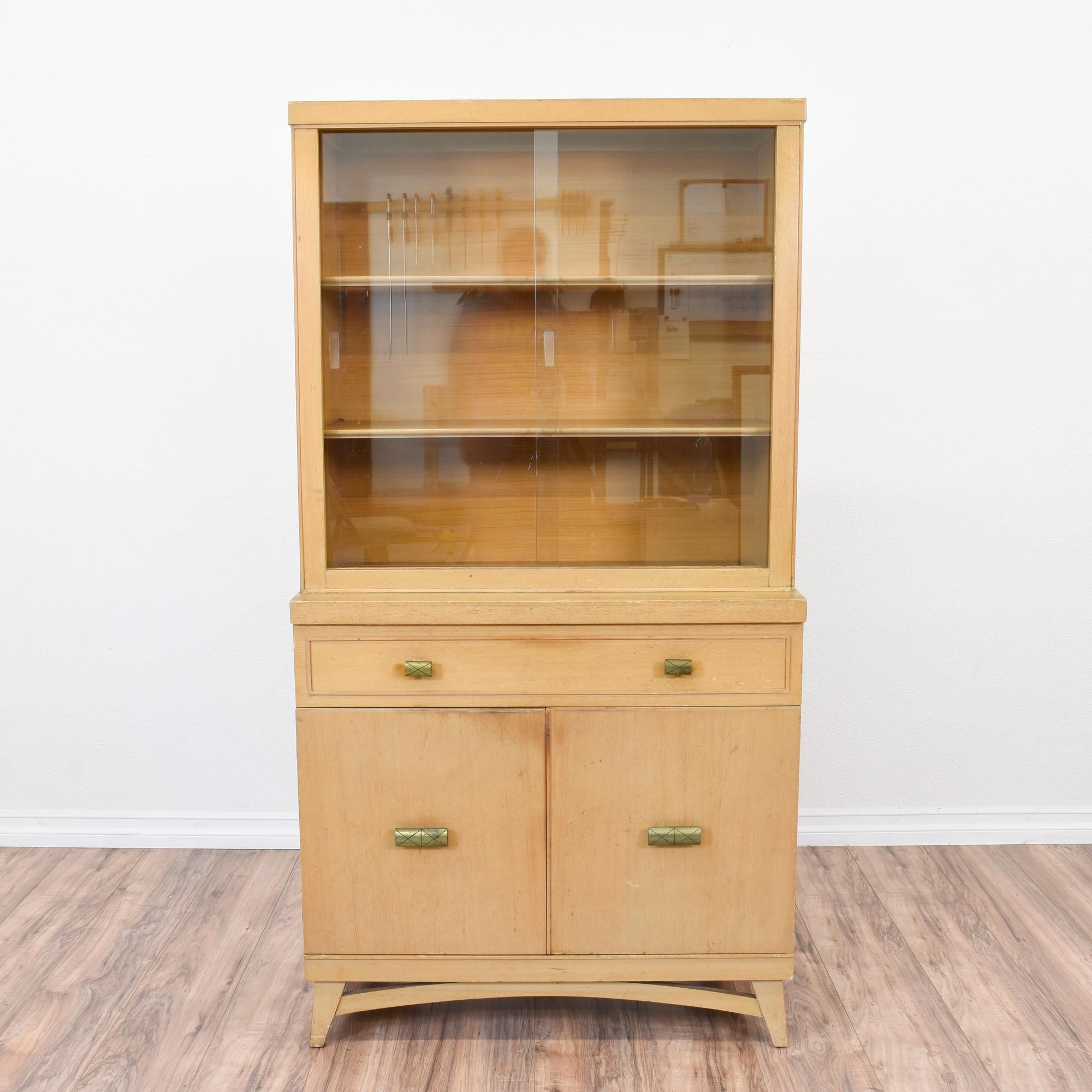 This Mid Century Modern China Hutch Is Featured In A Solid Wood With Light Blonde Finish Cabinet Great Condition Gl